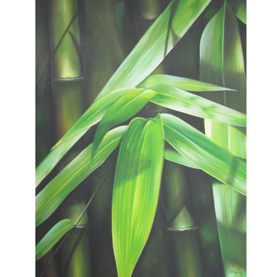 Bali Painting Realist Green Leaf Bamboo Collections Ubud Arts Culture Abstract Traditional